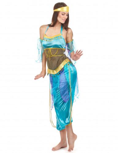 Déguisement danseuse arabe bleu adulte-1