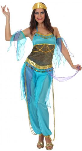 Déguisement danseuse arabe bleu adulte