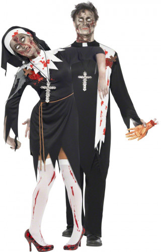 Costume couple religieux zombie Halloween