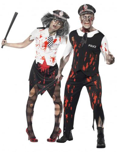Déguisement couple policiers zombie Halloween