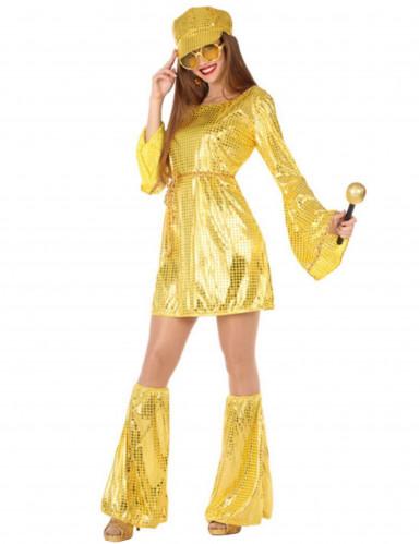 Déguisement disco doré à paillettes femme
