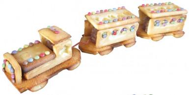 2 Moules à gâteaux roses forme petit train-1