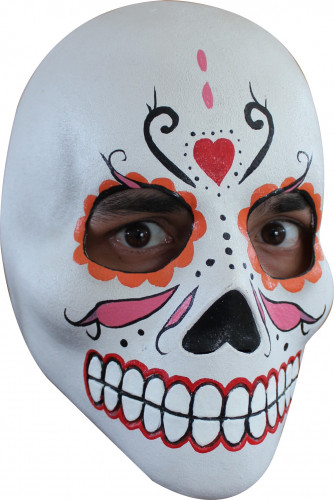 Masque crâne adulte Dia de los Muertos orange rouge et rose