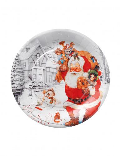 10 petites assiettes carton 18cm Père Noël