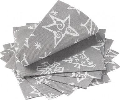 14 Serviettes en papier Chistmas Star gris 33 x 33 cm