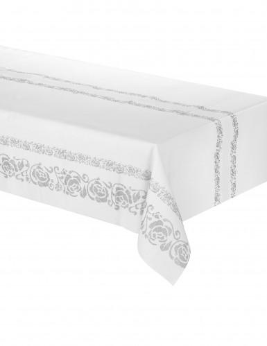 Nappe en papier blanche arabesques argentées 120 x 180 cm