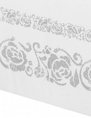 Nappe en papier blanche arabesques argentées 120 x 180 cm-1