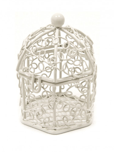 Mini cage à oiseaux blanche