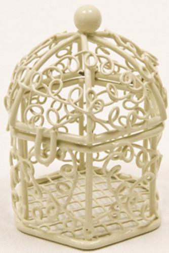 Mini cage à oiseaux ivoire