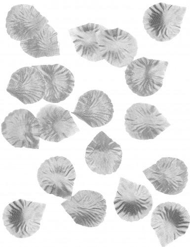 50 Pétales de rose en tissu métallisés argent