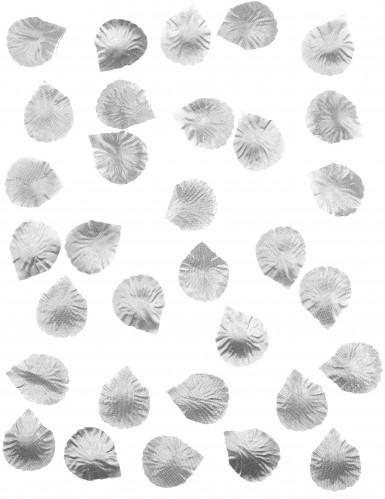 50 Pétales de rose en tissu métallisés argent-1