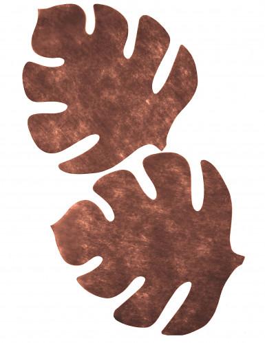 4 Sets de table en forme de feuille marron-1