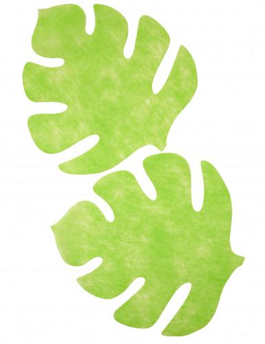 4 Sets de table en forme de feuille vert anis