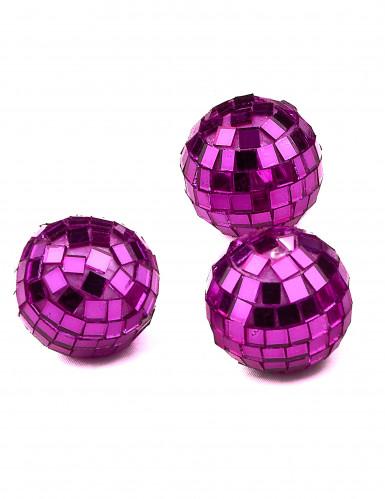 4 mini boules à facettes fuchsia 3,5 cm-1