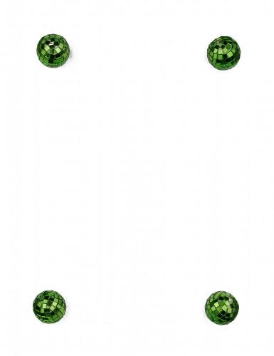 4 mini boules à facettes vertes