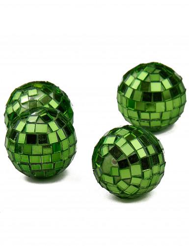 4 mini boules à facettes vertes-1