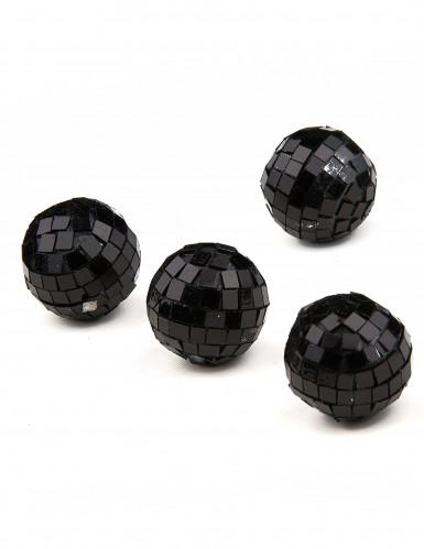 4 mini boules à facettes noires-1