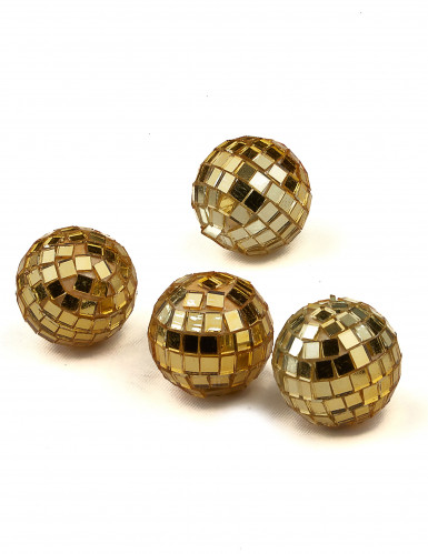 4 mini boules à facettes dorées-1