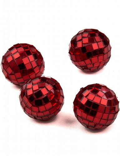 4 mini boules à facettes rouges-1