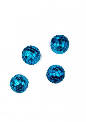 4 mini boules à facettes turquoise