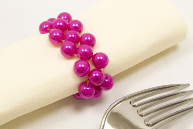 2 ronds de serviette en perles fuchsia