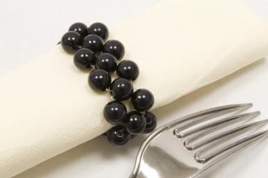 2 ronds de serviette en perles noirs