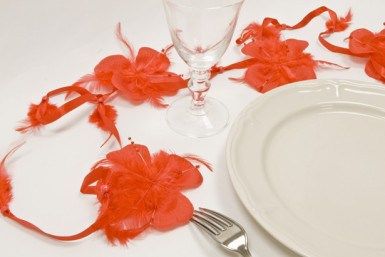 Guirlande de fleurs plume rouge