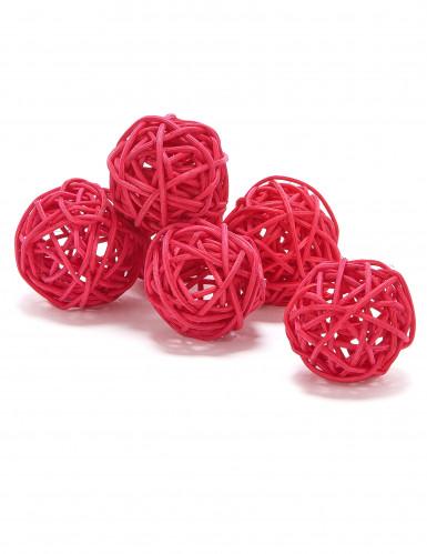 6 boules en osier rouges/fuchsia (Dia. 3,5 cm)