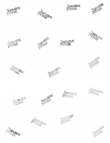 Confettis de table joyeuses fêtes argent-1
