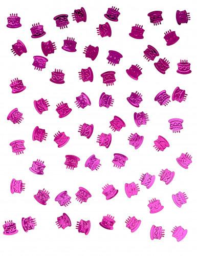 Confettis de table forme gâteau d'anniversaire fuchsia-1
