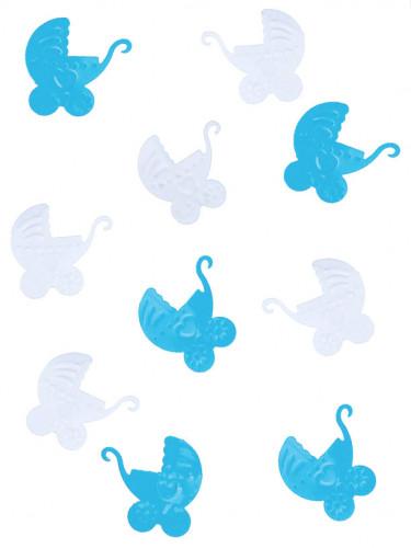 Confettis de table plastique landau bébé bleu et blanc