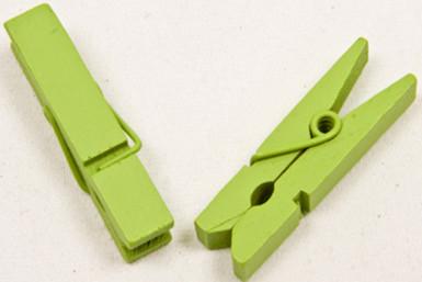 25 Pinces à linge en bois vertes anis