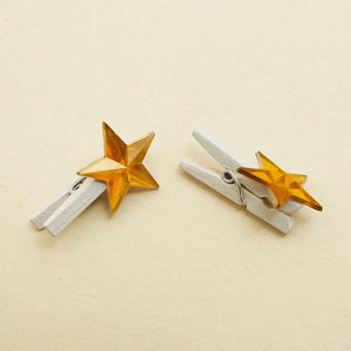 6 Pinces étoile cristal or