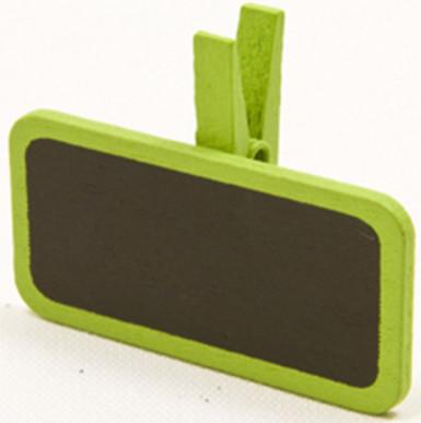 6 pinces à linge avec une mini ardoise vertes