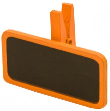 6 pinces à linge avec une mini ardoise orange