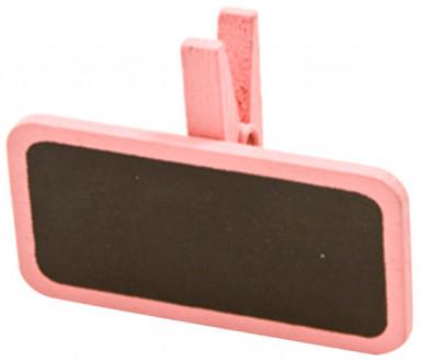 6 pinces à linge avec une mini ardoise roses