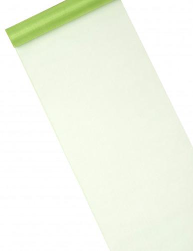Chemin de table en organza brillant vert anis