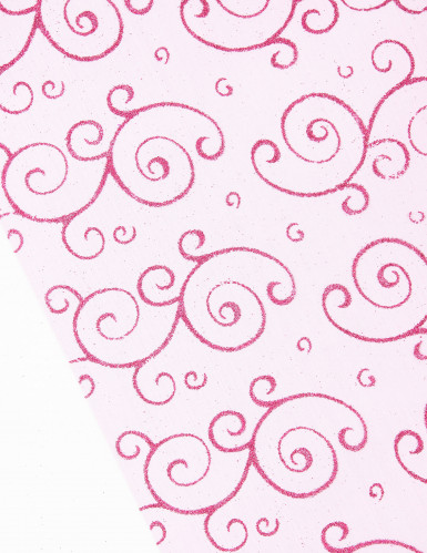 Chemin de table fuchsia en organza : motifs arabesques paillettes-1