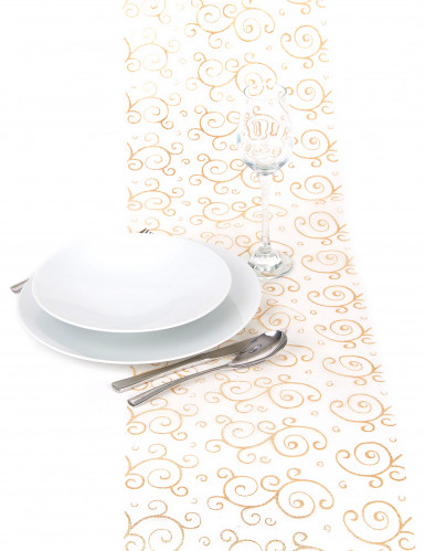 Chemin de table or en organza : motifs arabesques paillettes-2