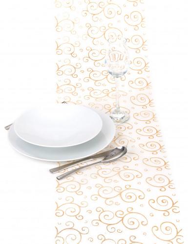 Chemin de table or en organza : motifs arabesques paillettes-2