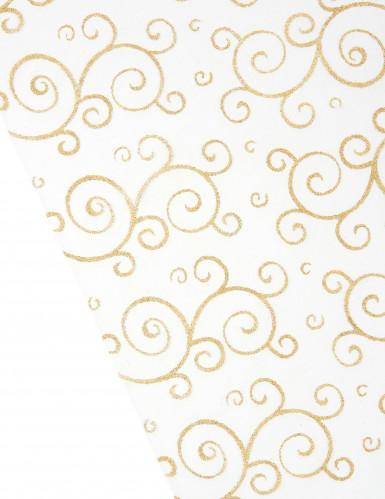 Chemin de table or en organza : motifs arabesques paillettes-1