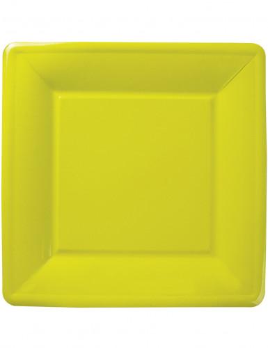 8 Assiettes vertes carrées en carton 27 cm Printemps