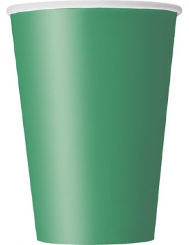 10 Gobelets vert émeraude en carton 355ml