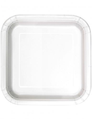 14 Assiettes carrées en carton blanc 23 cm