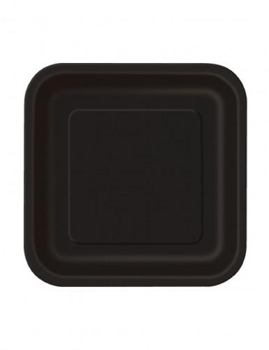 16 Petites assiettes noires en carton 17 cm