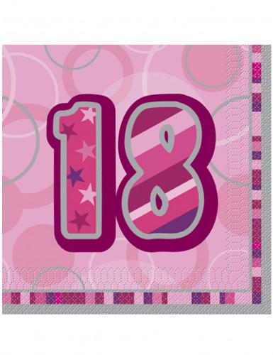 16 Serviettes en papier Age 18 ans roses 33 x 33 cm