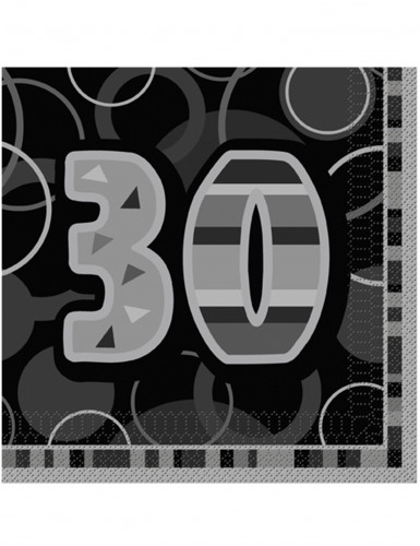 16 Serviettes en papier Age 30 ans grises 33 x 33 cm