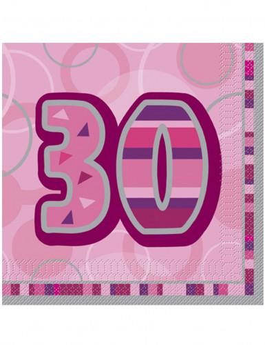 16 Serviettes en papier Age 30 ans roses 33 x 33 cm