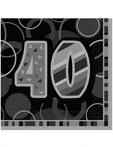 16 Serviettes en papier Age 40 ans grises 33 x 33 cm