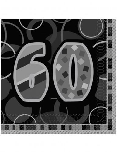 16 Serviettes en papier Age 60 ans grises 33 x 33 cm